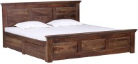 Amaani Furniture's Solid Wood Queen Bed With Storage(Finish Color -  Teak wood)