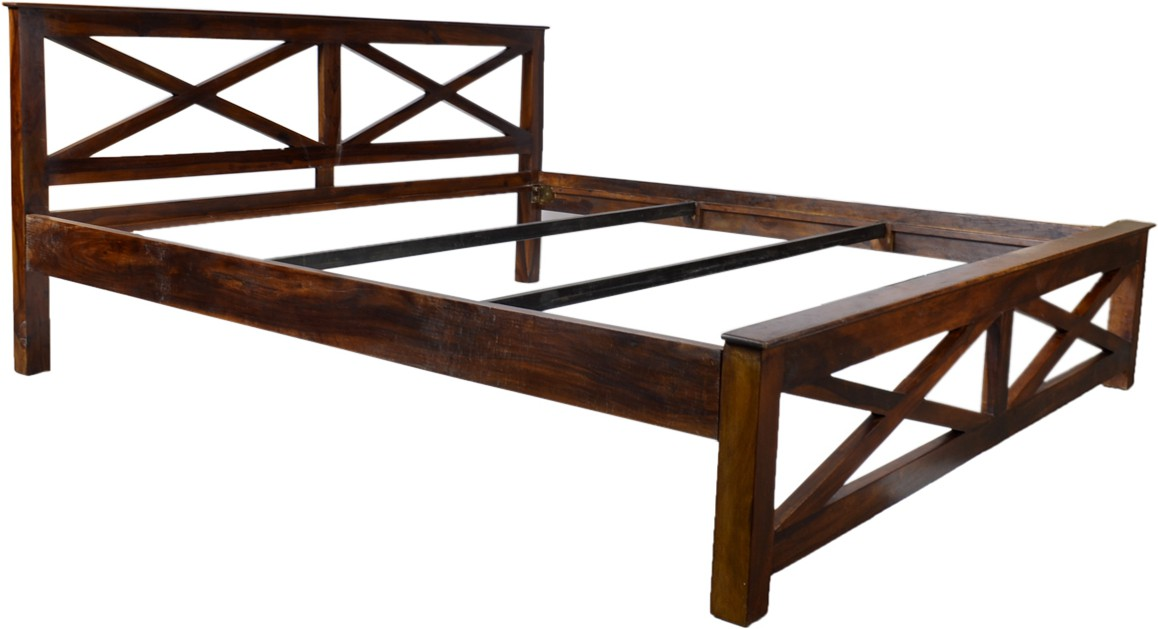 View Blueginger X Desing Cot Solid Wood King Bed(Finish Color -  Walnut) Furniture (Blueginger)