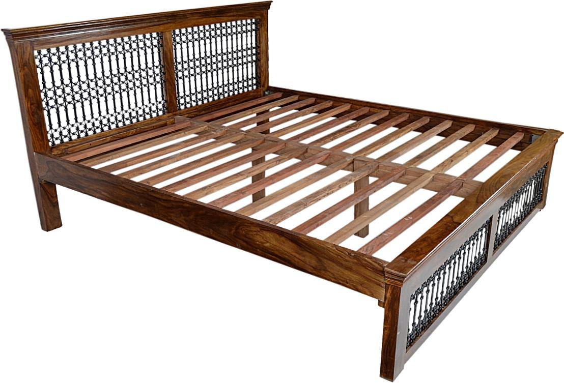 View Blueginger Jali Bed Solid Wood King Bed(Finish Color -  Walnut) Furniture (Blueginger)