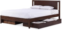 Urban Ladder Brandenberg Solid Wood Queen Bed With Storage(Finish Color -  Dark Walnut)