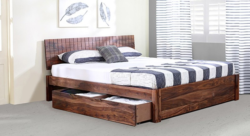 Urban Ladder Valencia Solid Wood King Bed With Storage(Finish Color...