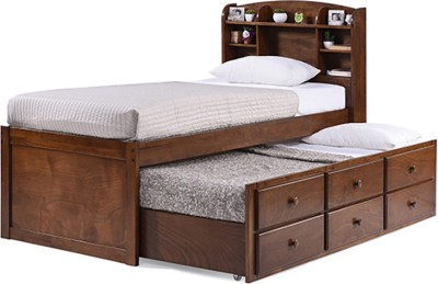 Urban Ladder Ateneo Trundle Solid Wood Single Bed With Storage(Finish Color - Polished Cherry)