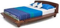 Urban Ladder Tahiti Platform Solid Wood Queen Bed(Finish Color -  Teak)