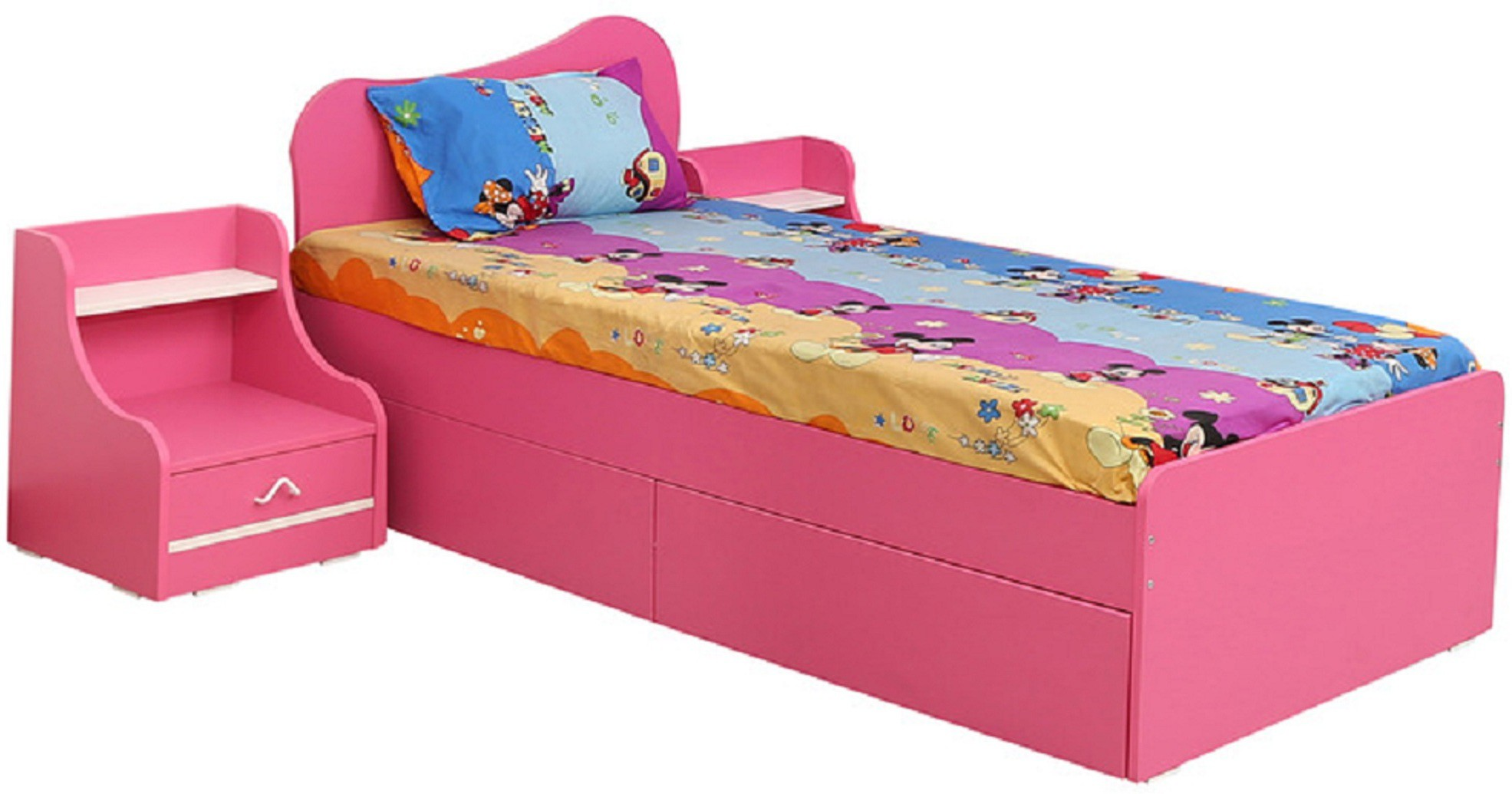View RAWAT Engineered Wood Single Bed With Storage(Finish Color -  Pink) Furniture (RAWAT)
