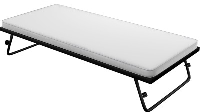 Camabeds Magad Foldable Truckle Metal Single Bed(Finish Color - Black (Mattress Included))