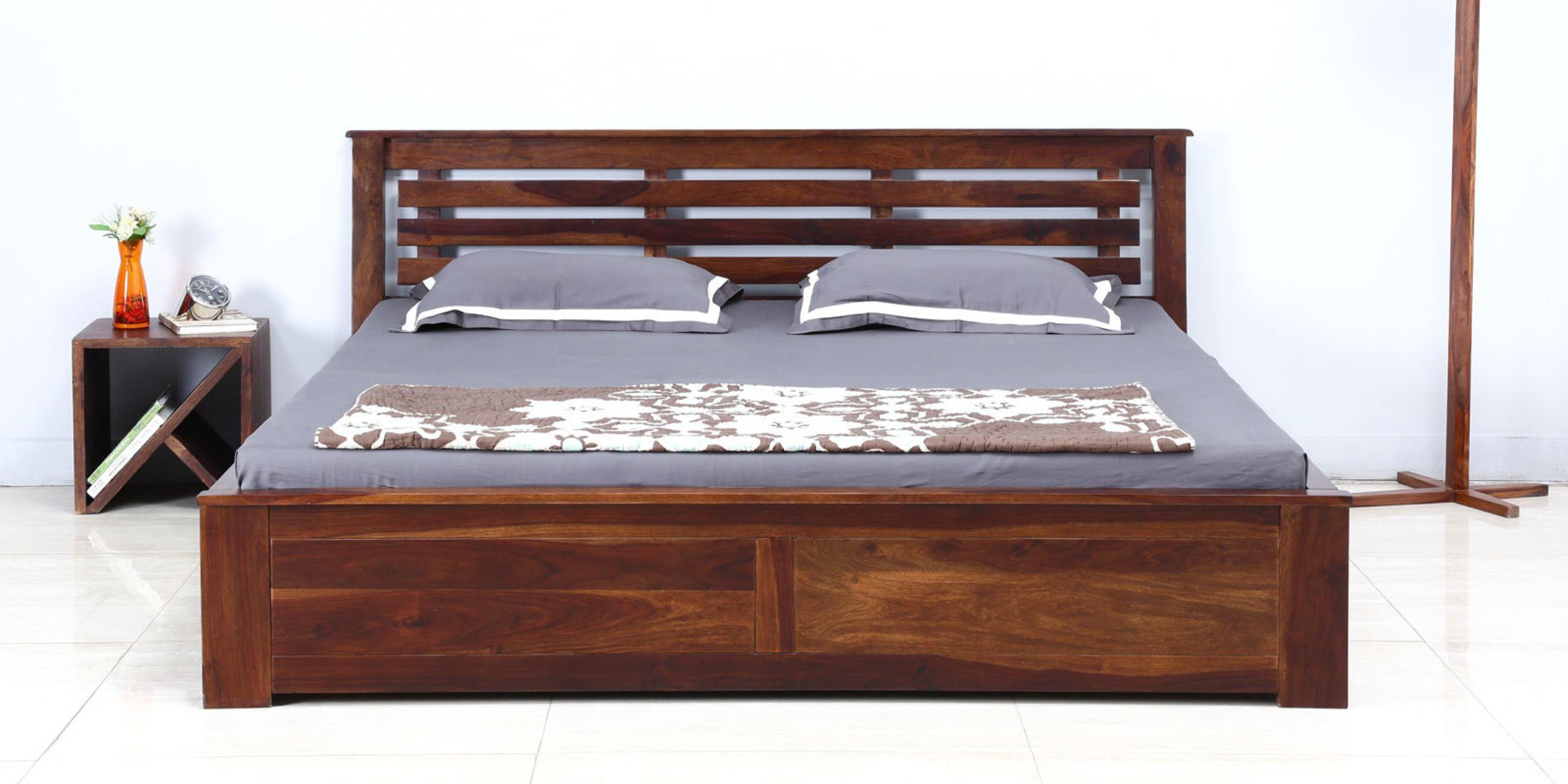 View Amaani Furniture's Solid Wood Queen Bed With Storage(Finish Color -  Teak Finish) Furniture (Amaani Furniture's)