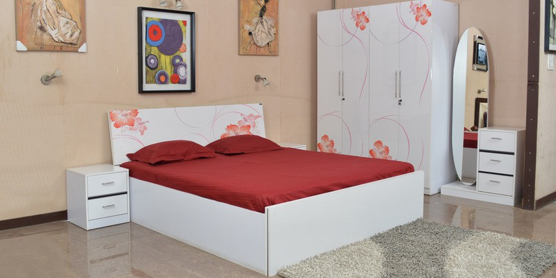 View Parin Engineered Wood Queen Bed With Storage(Finish Color -  Deco White) Price Online(Parin)