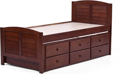 Urban Ladder Fitzroy Trundle Solid Wood Single Bed With Storage(Finish Color - Dark Walnut)