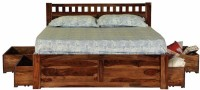 Induscraft Solid Wood Queen Bed With Storage(Finish Color -  Honey Brown)