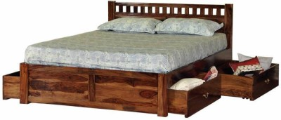 Induscraft Ethina Modern Solid Wood King Bed With Storage(Finish Color - Honey Brown)