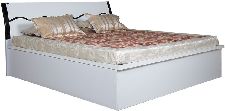 View Parin Engineered Wood King Bed With Storage(Finish Color -  Deco White) Price Online(Parin)