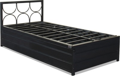 FurnitureKraft Metal Single Bed With Storage