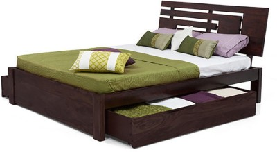 Urban Ladder Stockholm Solid Wood King Bed With Storage(Finish Color -  Mahogany)