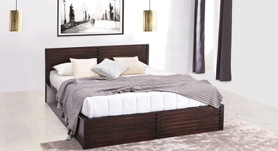 Urban Ladder Rille Solid Wood Queen Bed With Storage(Finish Color -  Mahogany)