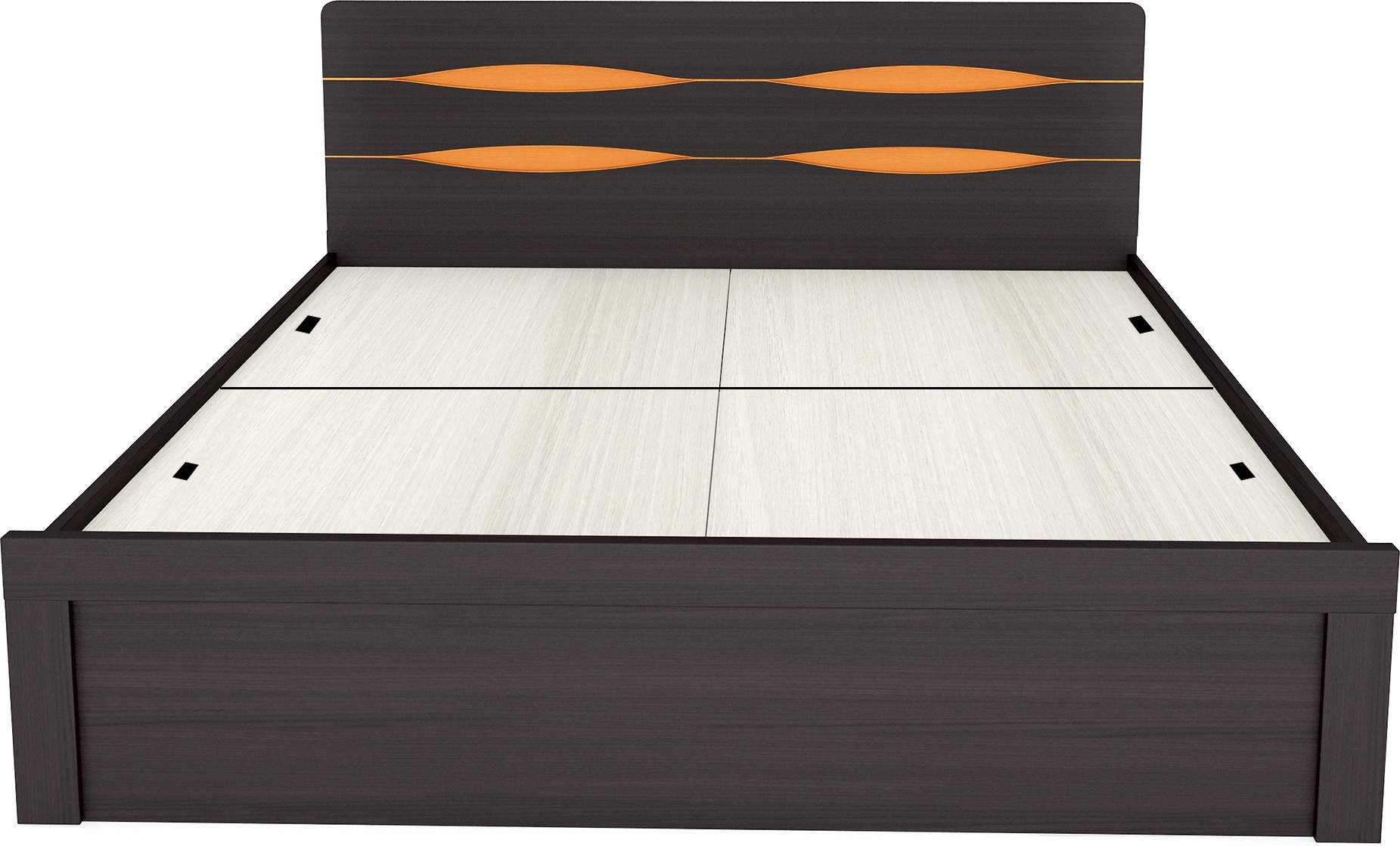 View UNiCOS Engineered Wood King Bed With Storage(Finish Color -  Brown Orange) Furniture (UNiCOS)