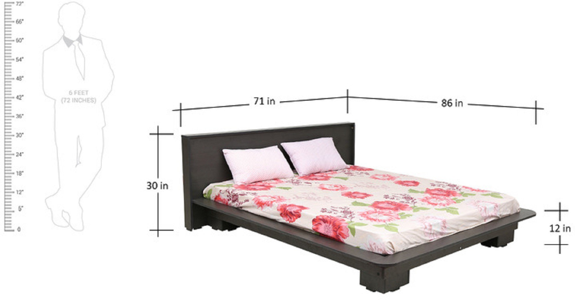 View RAWAT Engineered Wood Queen Bed(Finish Color -  Wallnut) Furniture (RAWAT)