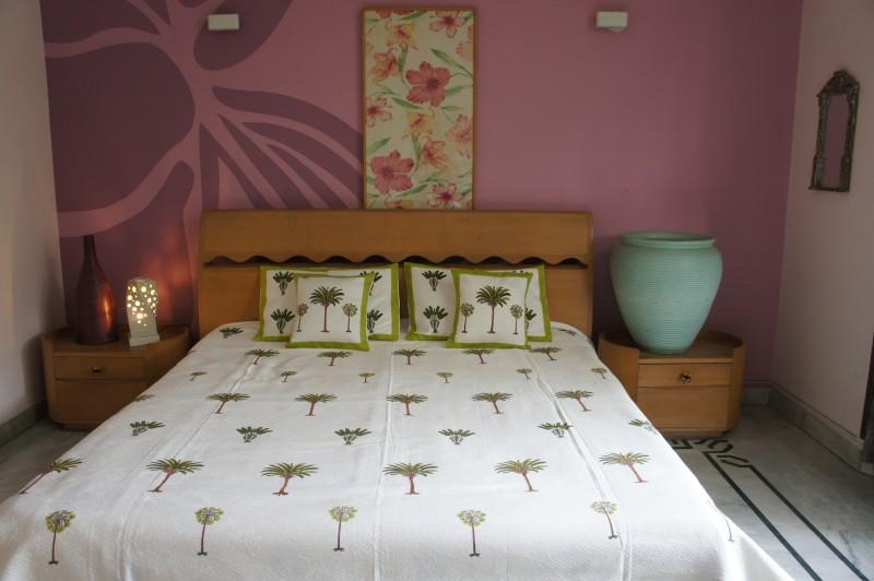 Imli Street Rajasthani Cotton Bedding Set Jaquard Cotton Bedcover with White & Green Block Print