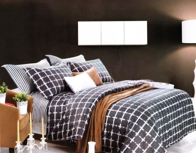 Just Linen Cotton Checkered King sized Double Bedsheet