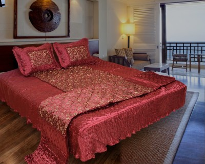 Home Shop Gift Satin Bedding Set(Red)