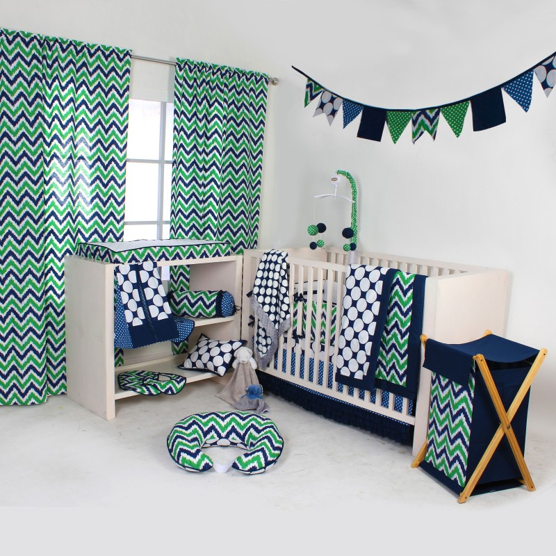 Bacati Cotton Bedding Set(Navy, Green)
