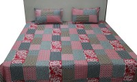 Adishma Cotton Bedding Set(Red, Black)