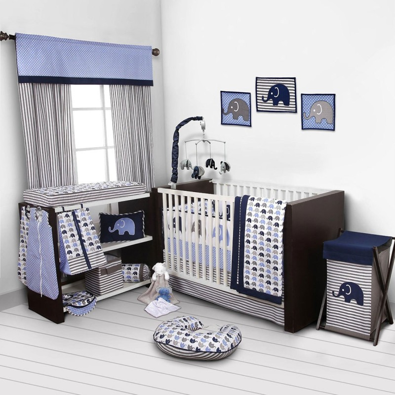 Bacati Cotton Bedding Set(Blue)