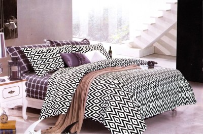 Just Linen Cotton Geometric King sized Double Bedsheet