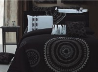 Zyne Orrabelle Cotton Bedding Set(Grey, Black, 2 Pillow Covers, 1 Bed Sheet, 1 Cushion Cover)