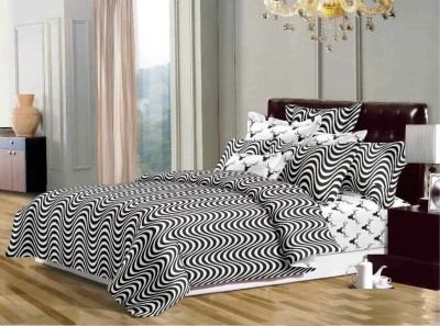 Dexim Polyester, Cotton Bedding Set(Black)