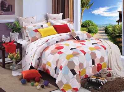 Silver Thread Geometric Polyester, Cotton Bedding Set