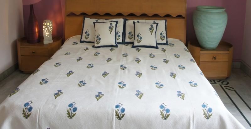Imli Street Rajasthani Cotton Bedding Set Jaquard Cotton Bedcover with Sunflower & Lotus Block Print