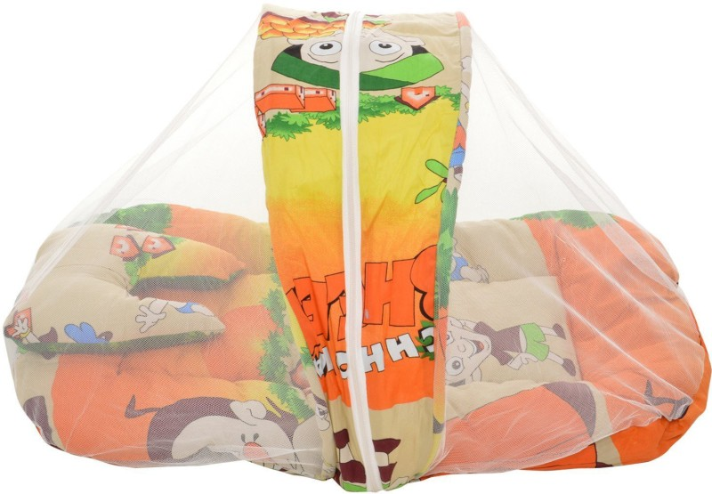 BSB Trendz Baby Baby Mat with Pillows and Mosquito Net Jumbo(Cotton, Multicolor)