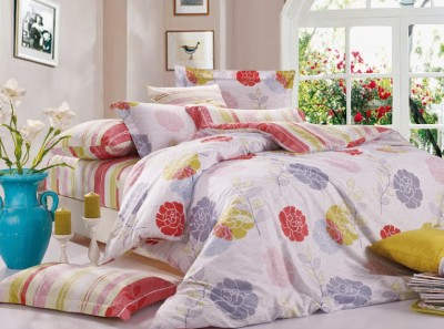 Silver Thread Flowers Stripes Polyester, Cotton Bedding Set