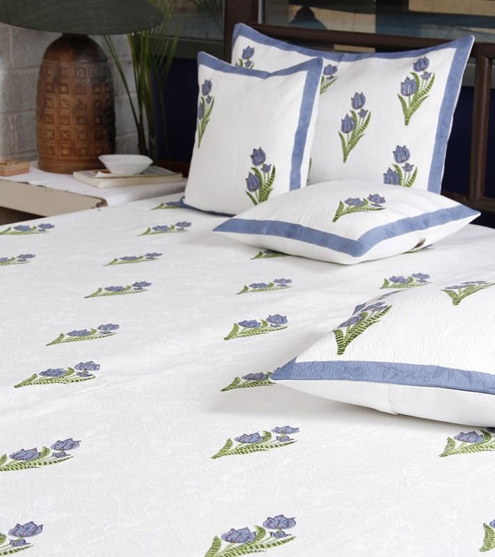 Imli Street Rajasthani Polycotton Bedding Set Jaquard Cotton Bedcover with Lotus Block Print