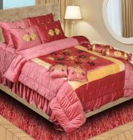 Laura Raw Silk Bedding Set(Mahroon)