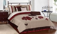 Bella King Cotton Duvet Cover(Beige, Maroon)