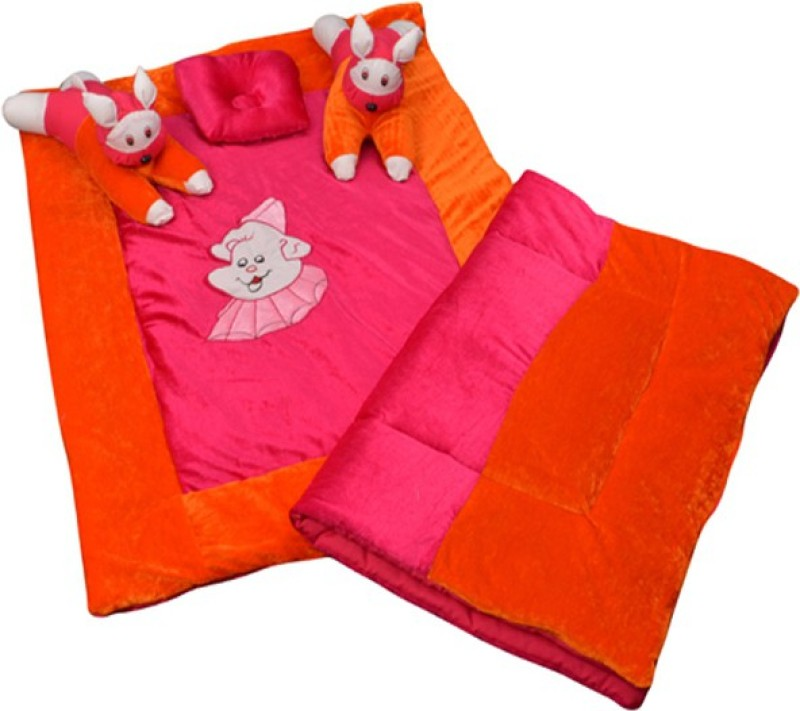 Maple Krafts Velvet, Polycotton Bedding Set(Pink, Peach)