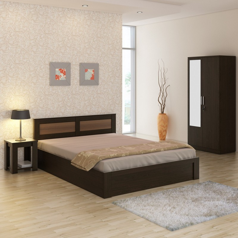 Spacewood Engineered Wood Bed + Side Table + Wardrobe(Finish Color - Vermount)