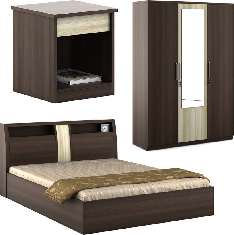 Spacewood Engineered Wood Bed + Side Table + Wardrobe(Finish Color - Mol.Acacia)