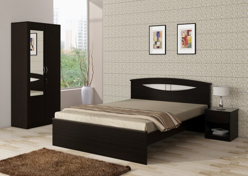 Spacewood Engineered Wood Bed + Side Table + Wardrobe(Finish Color - Natural Wenge woodpore)