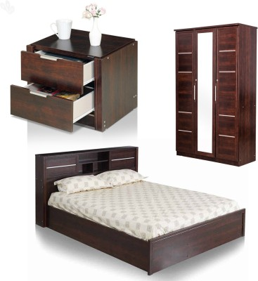 Royal Oak Engineered Wood Bed + Side Table + Wardrobe