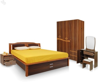 Royal Oak Engineered Wood Bed + Side Table + Wardrobe + Dressing Table