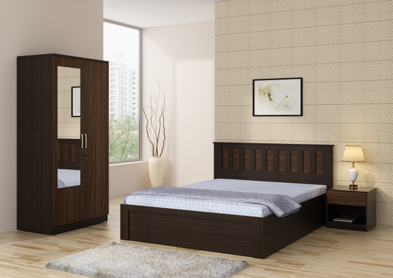 Spacewood Engineered Wood Bed + Side Table + Wardrobe(Finish Color - Natural Wenge)