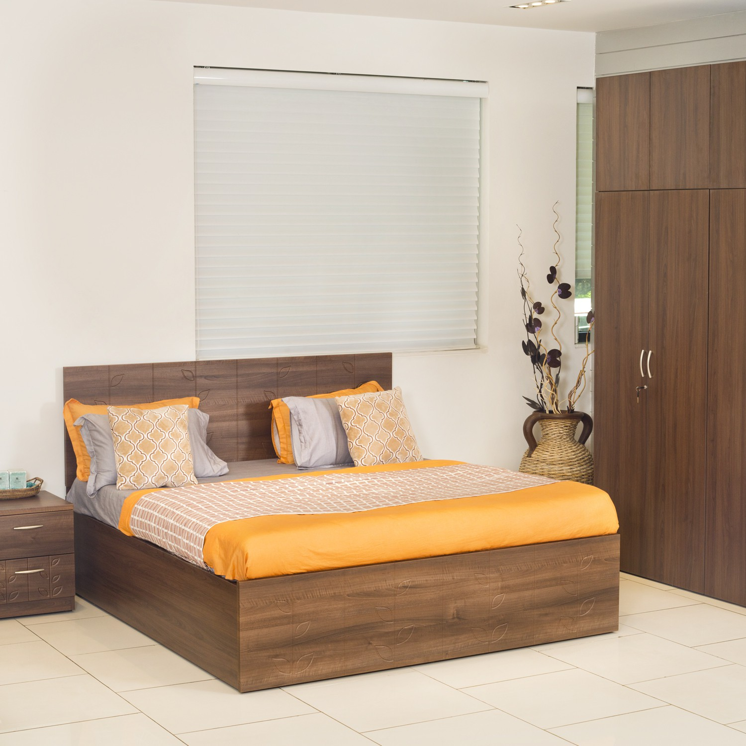 Godrej Interio Engineered Wood Bed + Side Table + Wardrobe(Finish Color - Cincinnati Walnut)