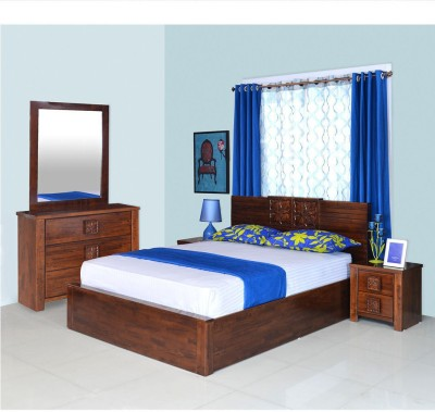@home by Nilkamal Solid Wood Bed + Side Table + Dressing Table(Finish Color - Walnut)
