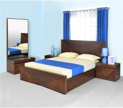 @home by Nilkamal Solid Wood Bed + Side Table + Dressing Table