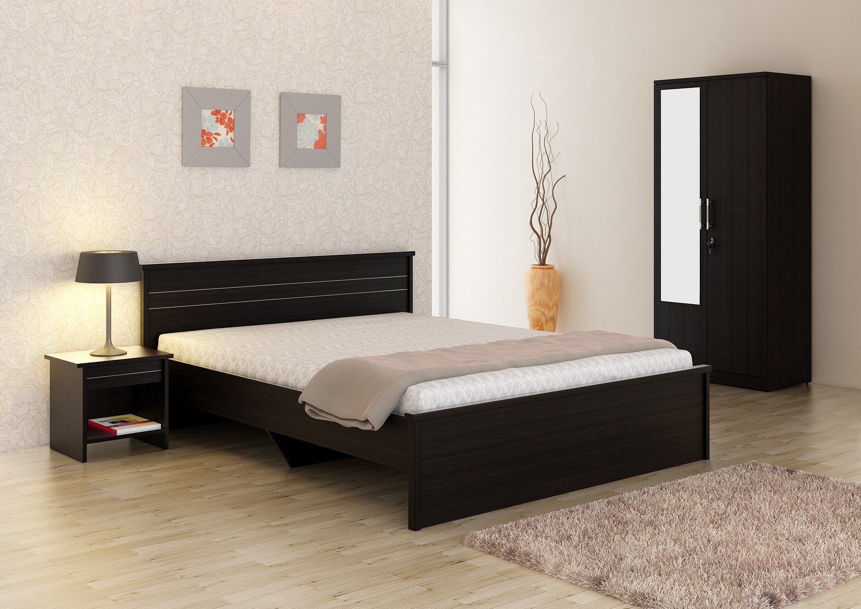 Spacewood engineered wood bed side table wardrobe for Indian bedroom furniture designs