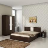 Spacewood Engineered Wood Bed + Side Tab...