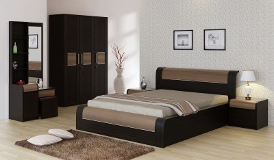 Spacewood Engineered Wood Bed + Side Table + Wardrobe + Dressing Table