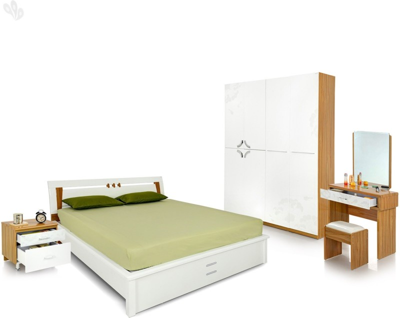 Royal Oak Engineered Wood Bed + Side Table + Wardrobe + Dressing Table(Finish Color - White)
